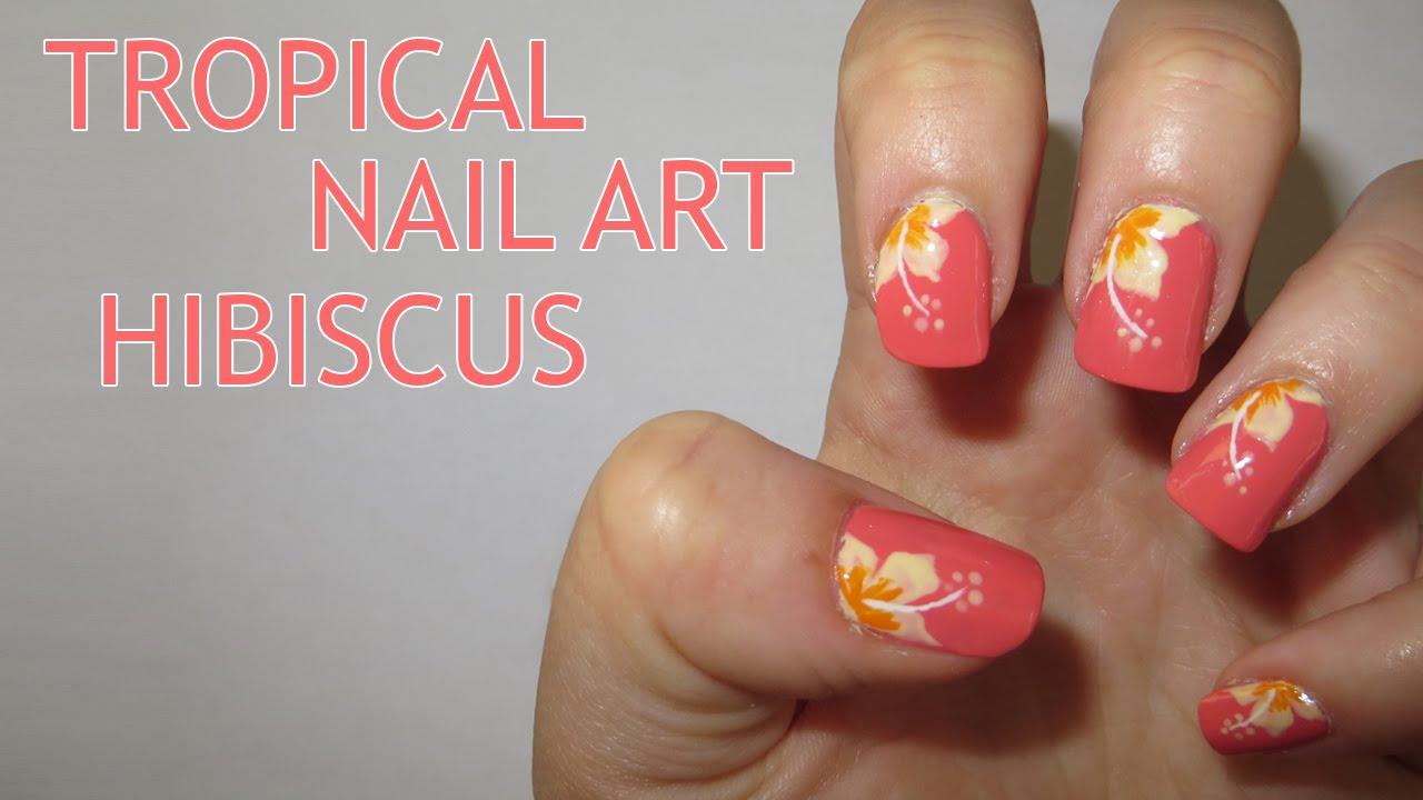 Tropical Nail Art - Hibiscus - YouTube