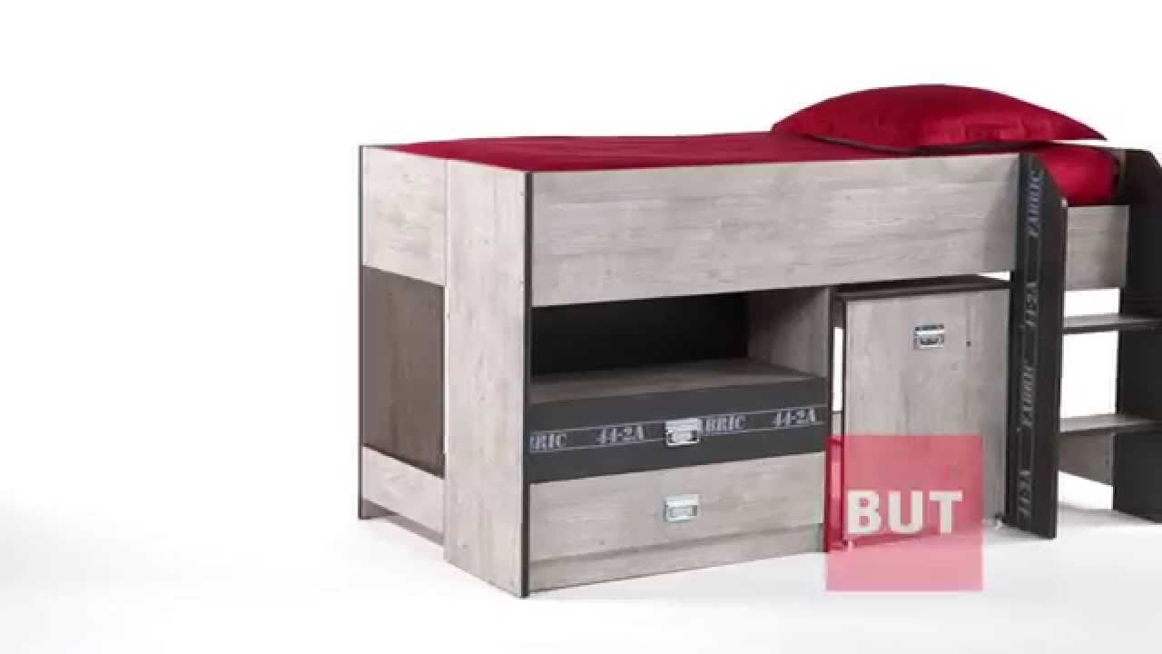 lit combin bureau 90x190 cm authentique fabric but youtube. Black Bedroom Furniture Sets. Home Design Ideas