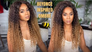 DIY BEYONCE HOMECOMING INSPIRED BLONDE OMBRE | MSCOCOHAIR KINKY CURLY WIG | WINE N WIGS WEDNESDAY