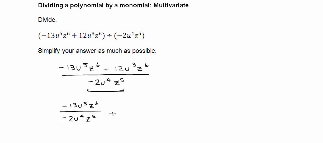 Dividing a polynomial by a monomial (multivariate) - YouTube