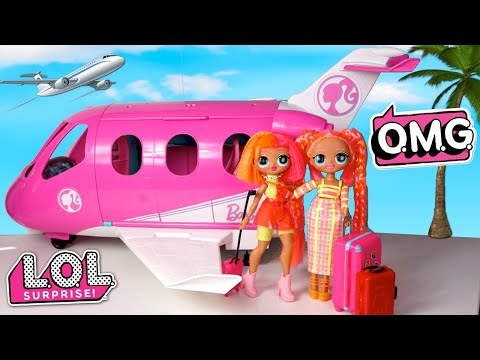Family Travel Routine With LOL OMG Neon Sisters - Barbie Toys