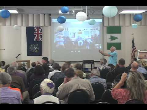 Pitcairn Islanders singing during first Skype video chat at Bounty-Pitcairn Conference 2012, #1