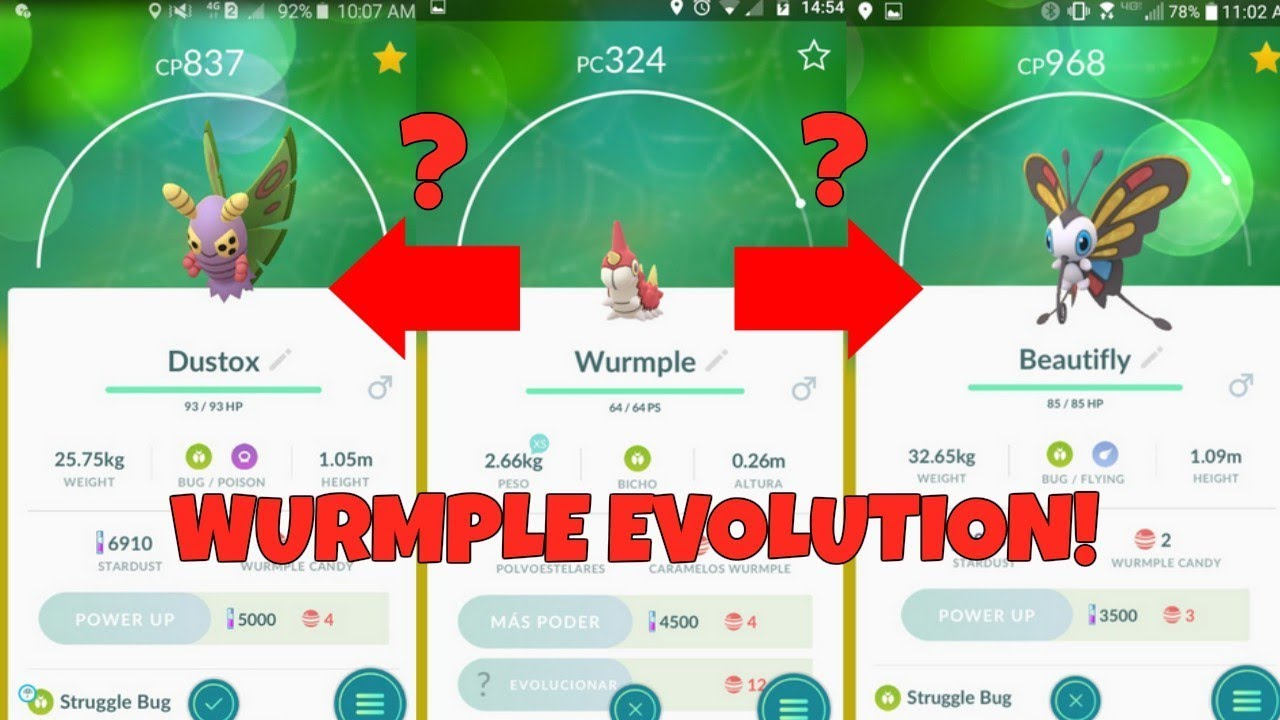 Evolving Wurmple In Pokemon Go How To Get Dustox And Beautifly