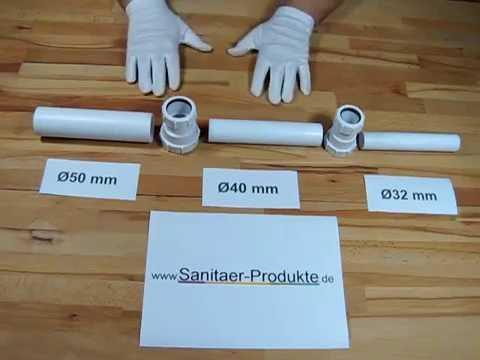 Abwasser Verbindung Rohrsystem Verlegen Fitting DN32 DN40 DN50