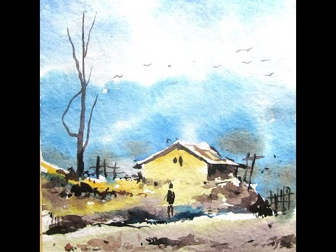 Simple landscape painting with watercolor, watercolor painting for beginners, paint with david