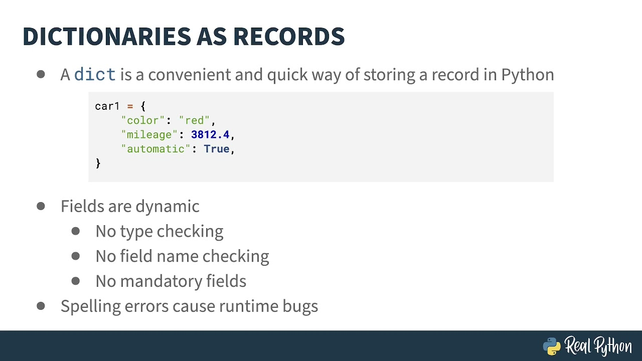 Data Records, the dict Type, and Selecting the Ideal Data Structure