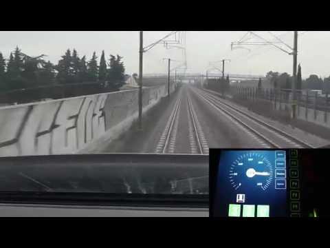 High speed train TGV cockpit view France