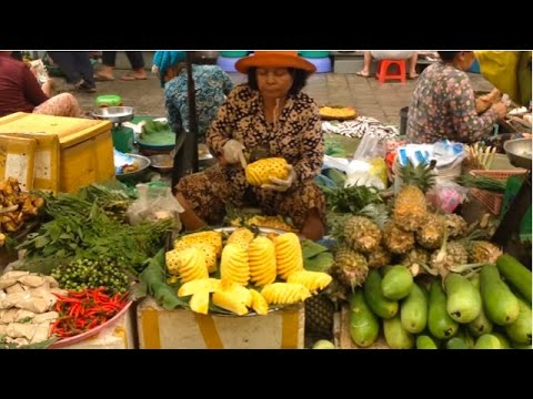 Asian Street food, Cambodian Market Street Food In Phnom Penh, Lively Living In Market