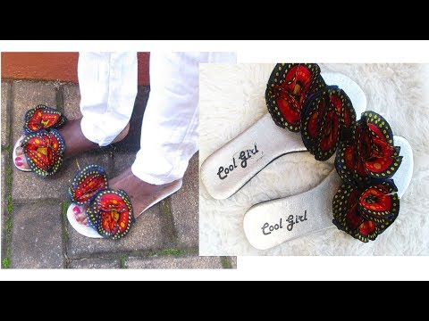 Sandals/Slippers with African Print Flowers-DIY