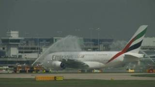 Emirates A380 Water Canon Salute Manchester UK