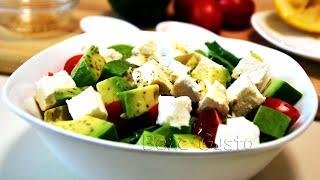 Салат с авокадо и Фетой (видео рецепт) | Витаминный САЛАТ ПП с авокадо и помидорами