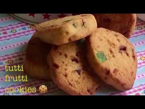 tutti frutti biscuits   eggless tutti frutti cookies   tutti frutti recipe