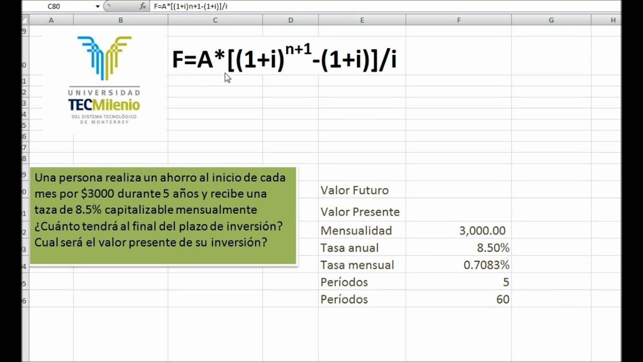 ANUALIDADES ANTICIPADAS. Hoja de cálculo EXCEL - YouTube
