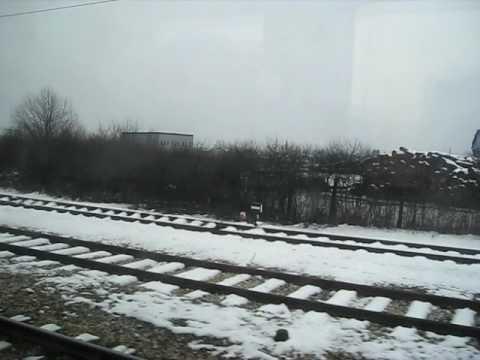 Train ride in Ljubljana, Slovenia. Winter ride