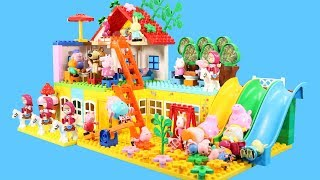 Peppa Pig Building Blocks House Toys For Kids - Lego Duplo House With Water Slide Creations Toys #2