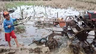 VIDEO LUCU Anak kecil belajar ngebajak sawah pake Traktor