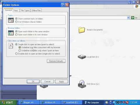 How To Change Double Click To Single Click In Windows XP