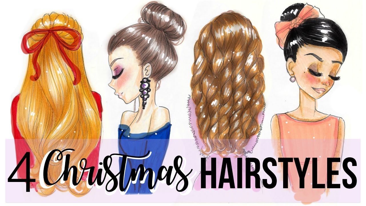 HOW TO DRAW CHRISTMAS HAIRSTYLES YouTube - Barbie hair style drawing