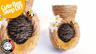 FARMHOUSE DECOR DIY, BEE SKEP DIY, Bee Craft Ideas, Bee DIY Crafts | Thrift Store Makeover