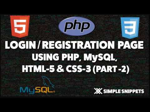 Login and Registration page in PHP and MySQL - Part 2/3