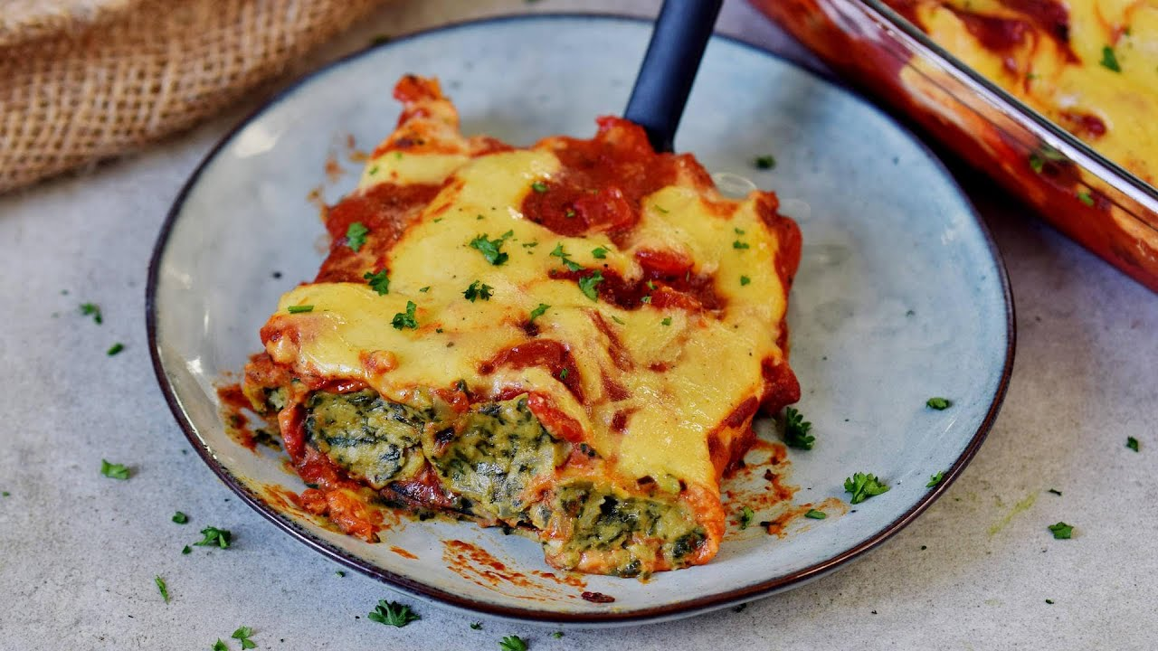 Spinach & 'Ricotta' Cannelloni (Vegan Recipe)