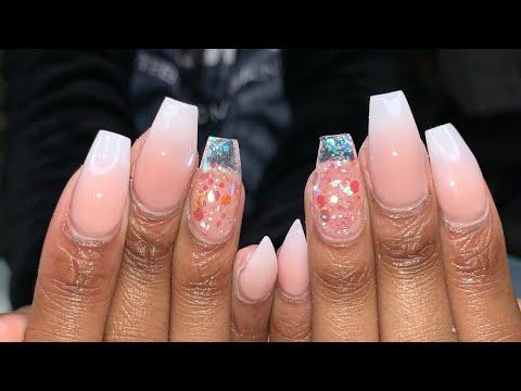 Acrylic Nails Tutorials   How to do ombré nails   Baby Boomer Acrylic Nails thumbnail