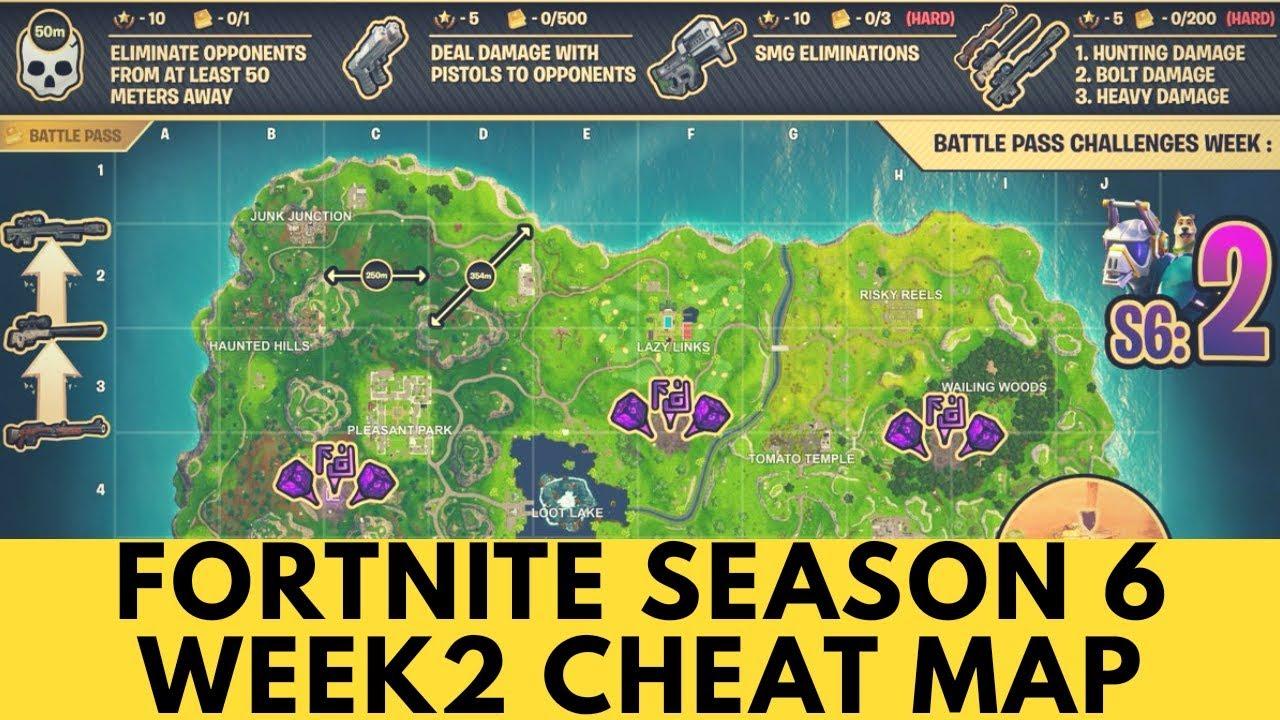Fortnite season 6 week 2 cheat map - YouTube