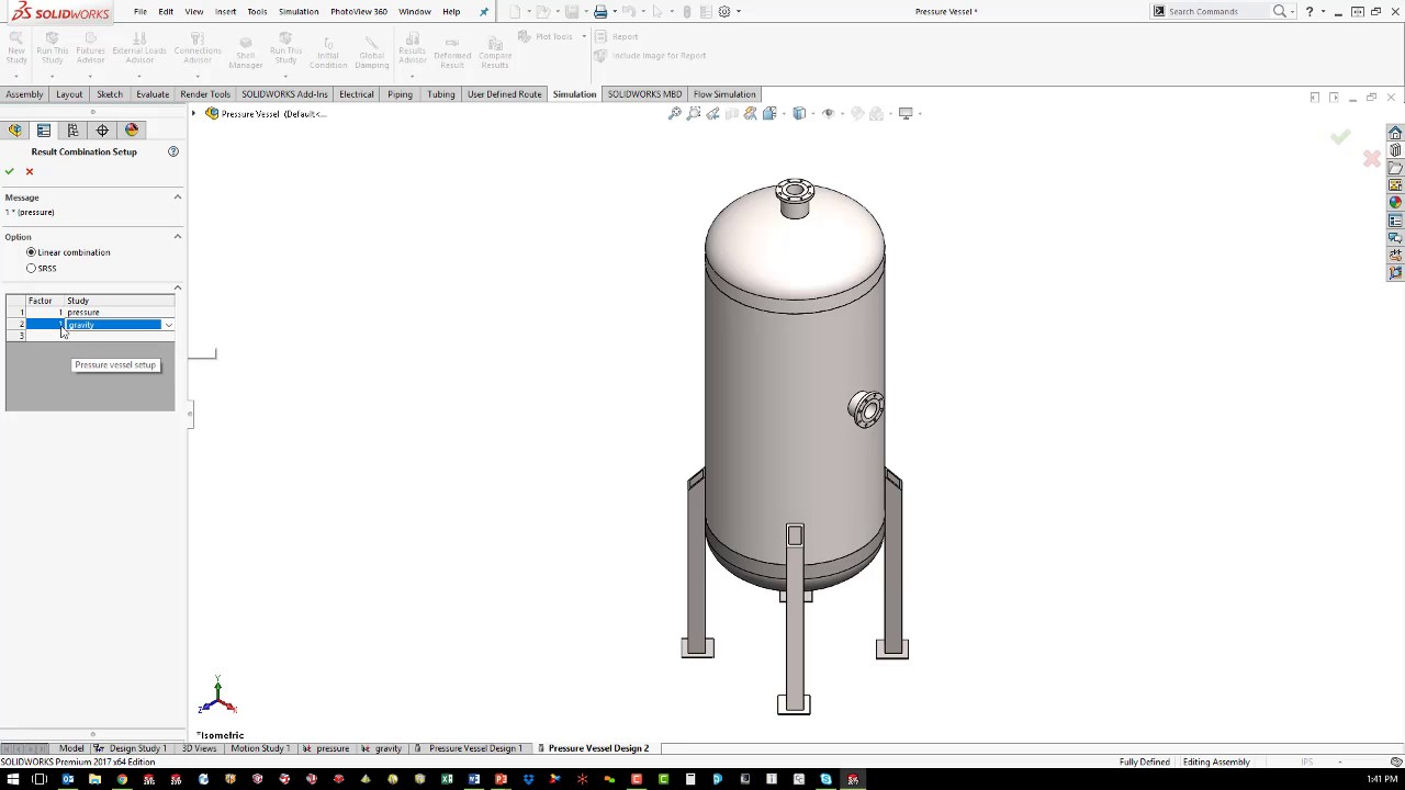 Solidworks Simulation Pressure Vessel Youtube