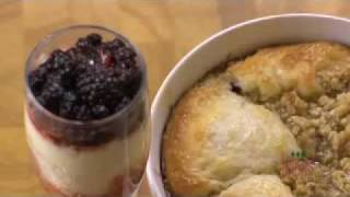 Peach Blueberry Cobbler And Berry Angel Food Trifle