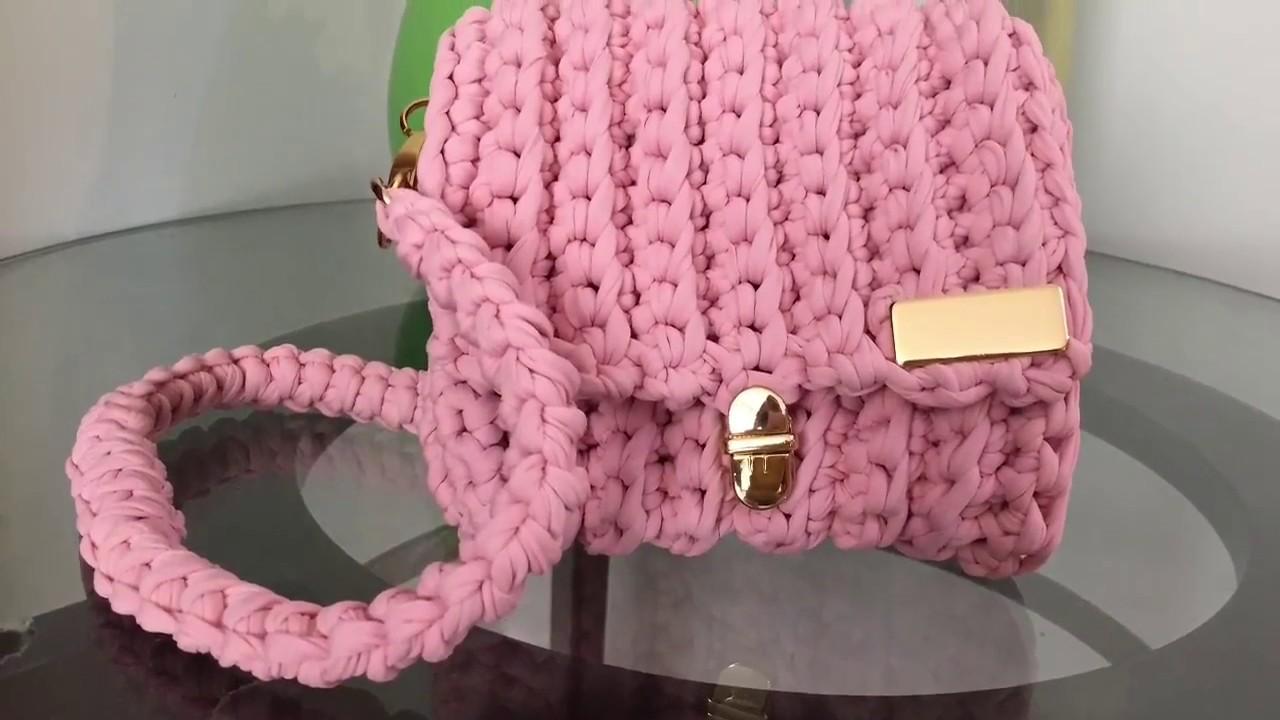eeb790a5d Bolsa de crochê com fio de malha para iniciantes. Tutorial 36 - YouTube
