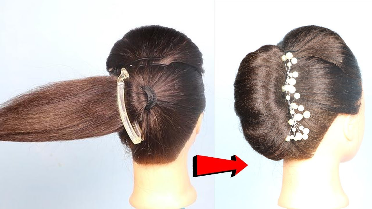new french roll trick using banana clip    french twist    hair style girl    french bun   hairstyle