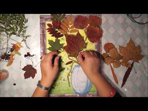 Панно из листьев на тему осень своими руками