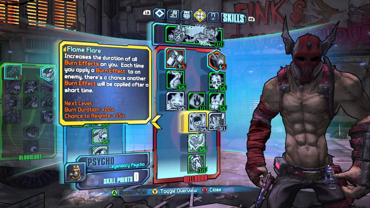 Borderlands 2 - Mania/Hellborn Lv 61 Psycho Build - Fire ... Borderlands 2 Psycho Build