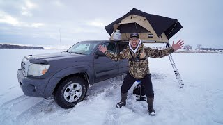 Winter Rooftop Tent Trขck Ice Camping on a Frozen Lake!