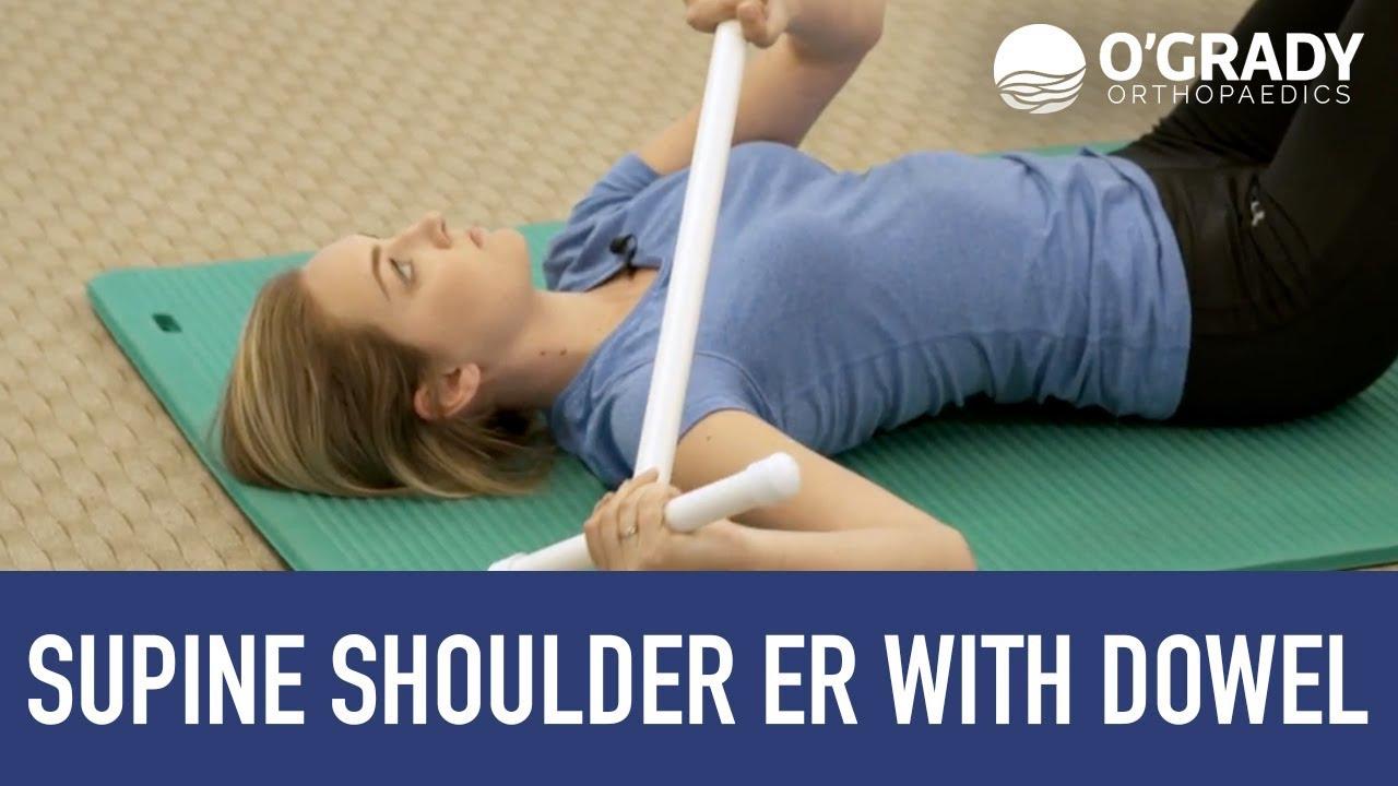Supine Shoulder ER with Dowel - YouTube