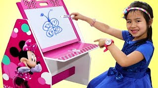 Jannie Drawing Challenge con Minnie Mouse Learning Table |Dibuja y Aprende | Para Niños