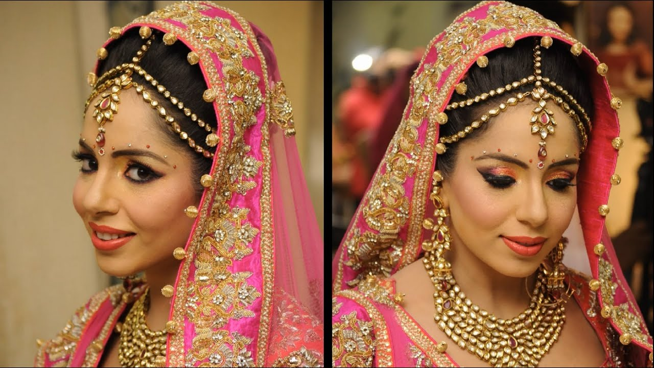 Traditional Bridal Makeup With Peach and Pink - YouTube