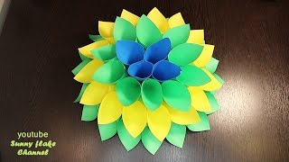 Цветок из бумаги оригами. Как сделать большие цветы из бумаги своими руками.Giant Paper Flower.(Всем привет! В этом видео я поэтапно расскажу Вам как сделать красивый цветок из бумаги оригами своими..., 2017-01-09T05:05:32.000Z)