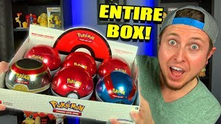 I TRIED OPENING an ENTIRE BOX OF POKEMON POKEBALL TINS! So Many Ultra Rare Cards