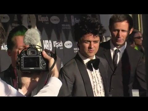 GREEN DAY on the red carpet for the Rock and Roll Hall of Fame induction