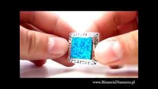 Srebrny pierścionek z niebieskim opalem - Biżuteria Diamento