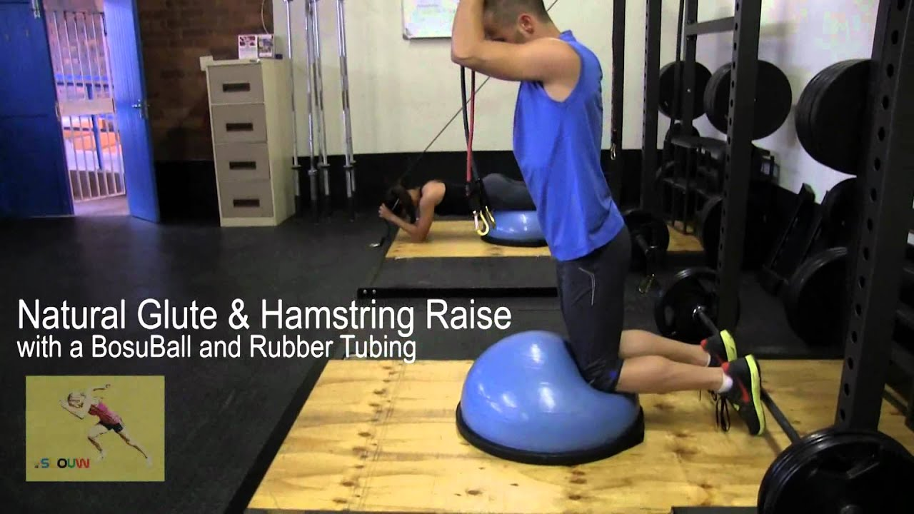 Slouwgym Natural Glute Hamstring Raise With A Bosu Ball And Rubber