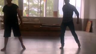 Doing dance practice on Malhari song by Shoolini university students Mr. Pankaj Thakur and Mr. Krish