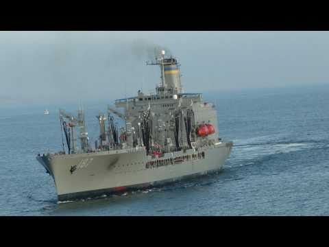 Close Head-on Pass by USNS Henry J. Kaiser from USS Abraham Lincoln (CVN 72) 1080p