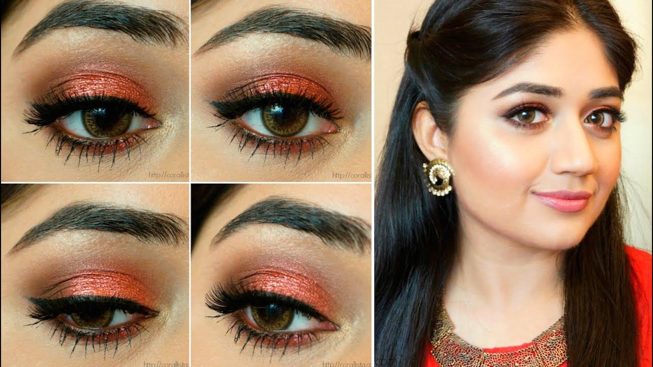 orange shimmer indian bridal festive makeup corallista youtube. Black Bedroom Furniture Sets. Home Design Ideas