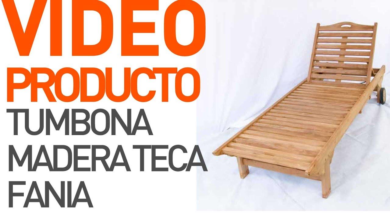 Tumbona de madera teca Fania jardín - YouTube