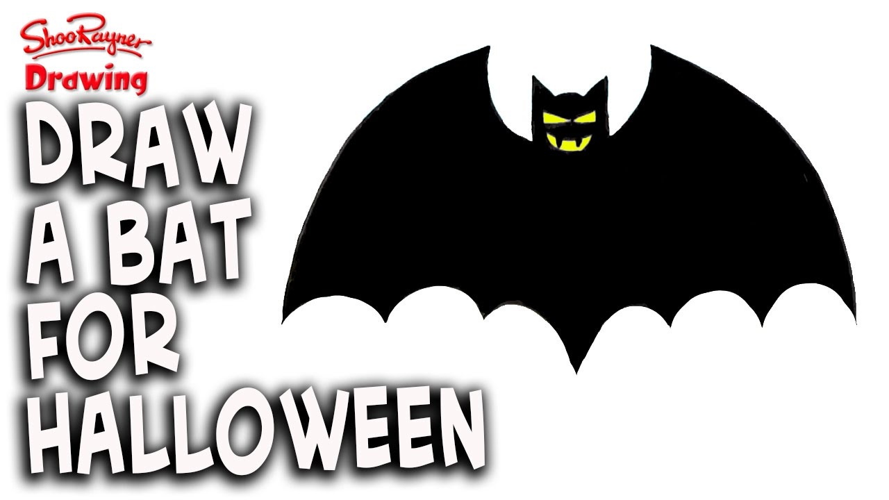 how to draw a halloween vampire bat - easy stepstep - youtube