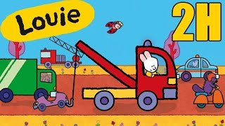 2 hours of Louie : Vehicles compilation #3   Learn to draw, cartoon for children