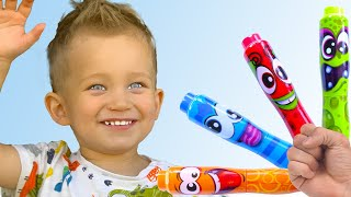Mark and parents pretends to play with his Magic Pen - Preschool toddler learn color   MarkLand