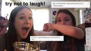 trying not to laugh with my sister